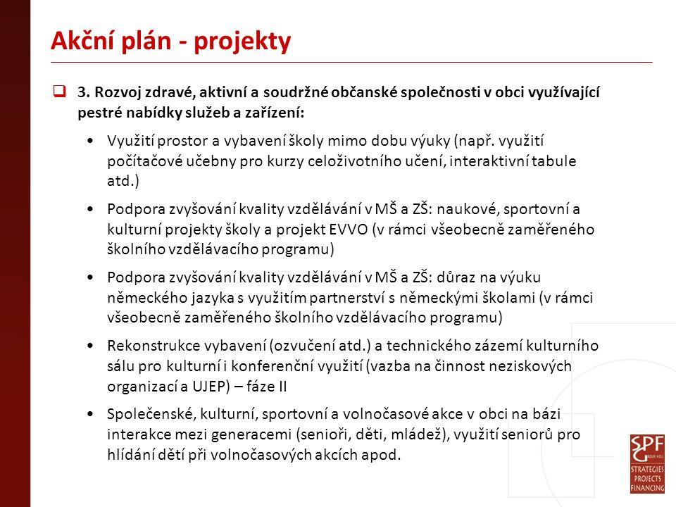 Akční plán - projekty  3. Rozvoj zdravé, aktivní a soudržné občanské společnosti v obci využívající pestré nabídky služeb a zařízení: Využití prostor