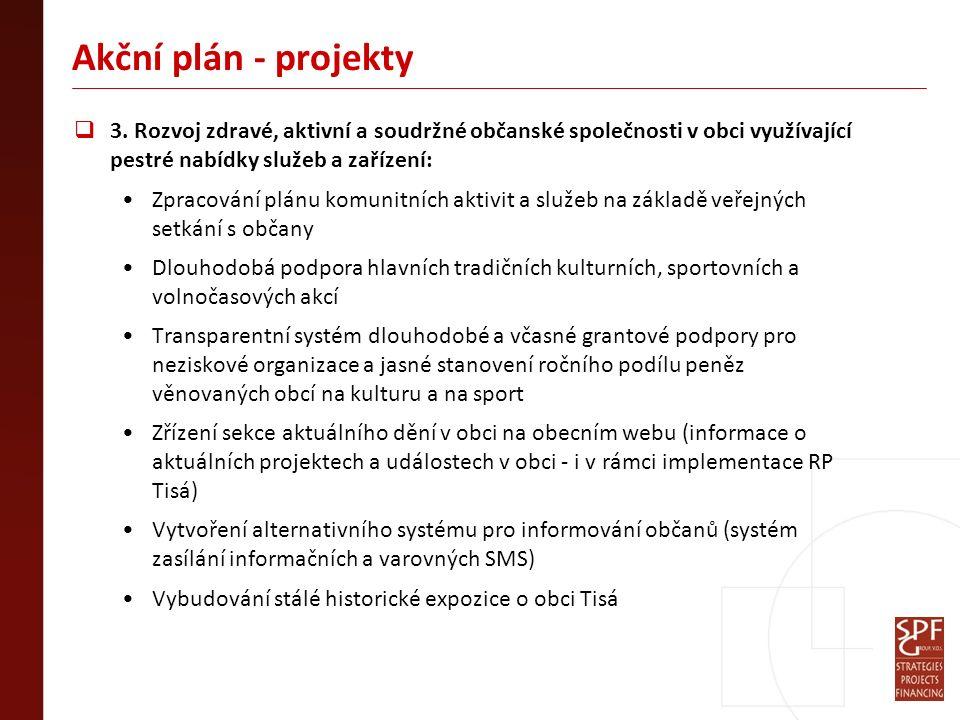 Akční plán - projekty  3. Rozvoj zdravé, aktivní a soudržné občanské společnosti v obci využívající pestré nabídky služeb a zařízení: Zpracování plán