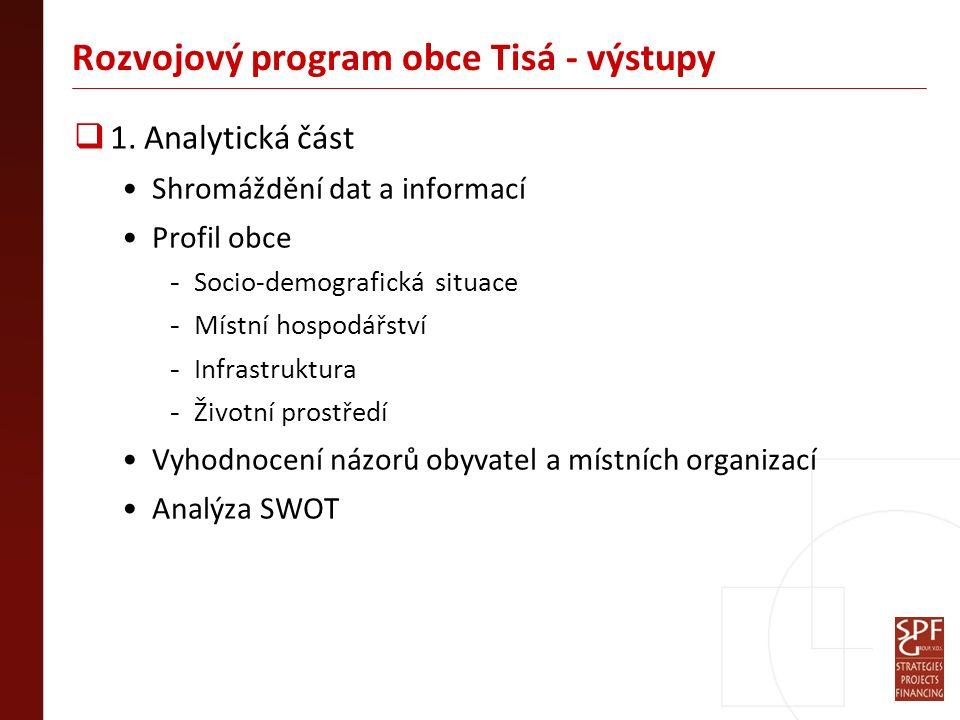 Rozvojový program obce Tisá - výstupy  1. Analytická část Shromáždění dat a informací Profil obce - Socio-demografická situace - Místní hospodářství