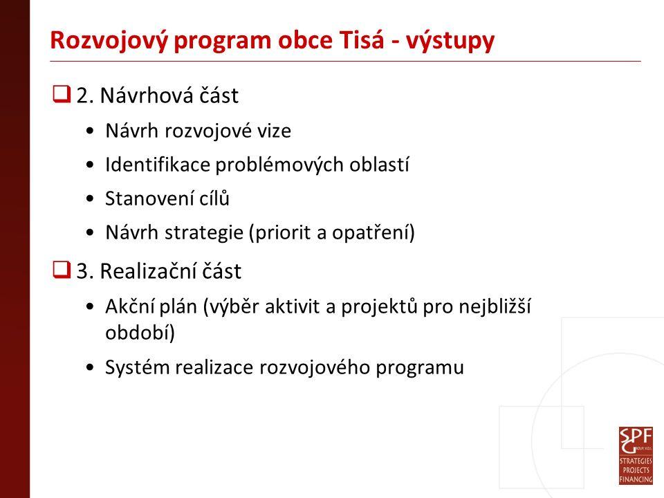 Rozvojový program obce Tisá - výstupy  2. Návrhová část Návrh rozvojové vize Identifikace problémových oblastí Stanovení cílů Návrh strategie (priori