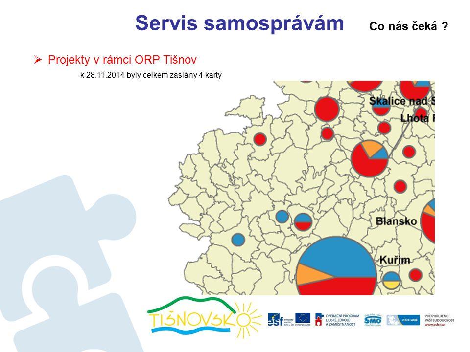 Servis samosprávám  Projekty v rámci ORP Tišnov k 28.11.2014 byly celkem zaslány 4 karty Co nás čeká