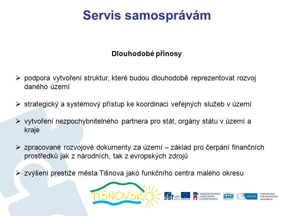 Servis samosprávám  podpora vytvoření struktur, které budou dlouhodobě reprezentovat rozvoj daného území  strategický a systémový přístup ke koordinaci veřejných služeb v území  vytvoření nezpochybnitelného partnera pro stát, orgány státu v území a kraje  zpracované rozvojové dokumenty za území – základ pro čerpání finančních prostředků jak z národních, tak z evropských zdrojů  zvýšení prestiže města Tišnova jako funkčního centra malého okresu Dlouhodobé přínosy