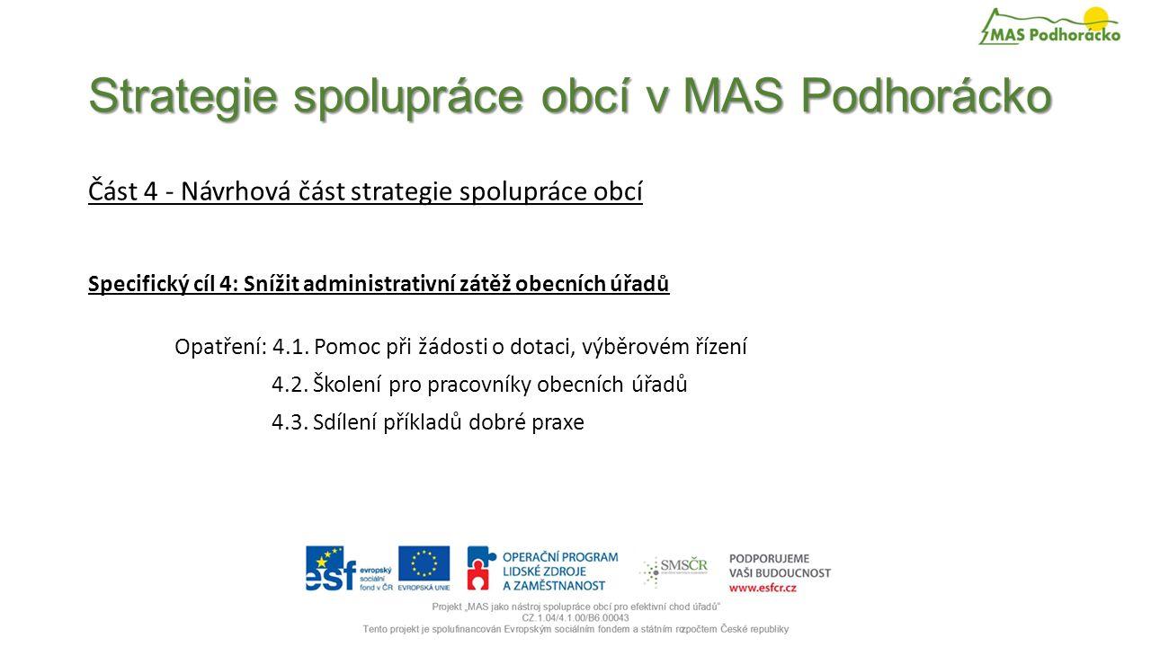 Strategie spolupráce obcí v MAS Podhorácko Část 4 - Návrhová část strategie spolupráce obcí Specifický cíl 4: Snížit administrativní zátěž obecních úřadů Opatření: 4.1.