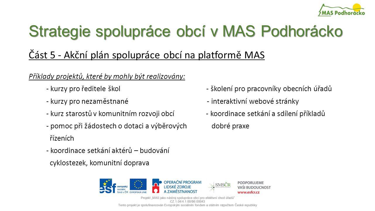 Strategie spolupráce obcí v MAS Podhorácko Část 5 - Akční plán spolupráce obcí na platformě MAS Příklady projektů, které by mohly být realizovány: - kurzy pro ředitele škol - školení pro pracovníky obecních úřadů - kurzy pro nezaměstnané - interaktivní webové stránky - kurz starostů v komunitním rozvoji obcí - koordinace setkání a sdílení příkladů - pomoc při žádostech o dotaci a výběrových dobré praxe řízeních - koordinace setkání aktérů – budování cyklostezek, komunitní doprava