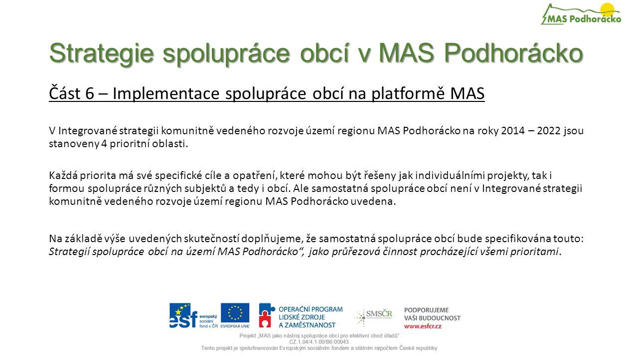 Strategie spolupráce obcí v MAS Podhorácko Část 6 – Implementace spolupráce obcí na platformě MAS V Integrované strategii komunitně vedeného rozvoje území regionu MAS Podhorácko na roky 2014 – 2022 jsou stanoveny 4 prioritní oblasti.