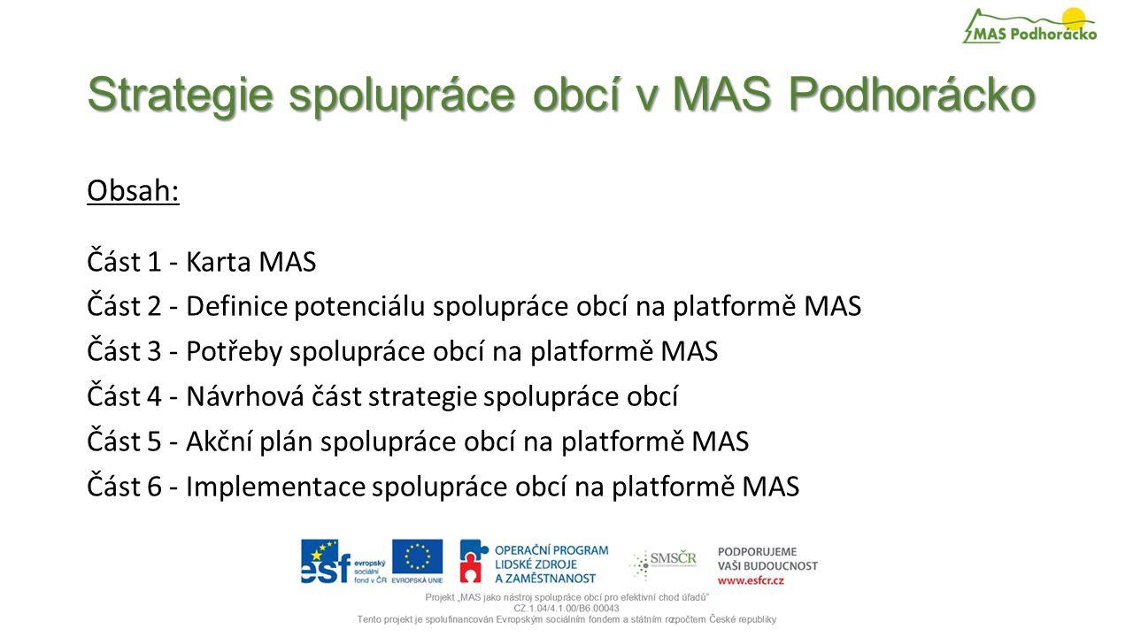 Strategie spolupráce obcí v MAS Podhorácko Obsah: Část 1 - Karta MAS Část 2 - Definice potenciálu spolupráce obcí na platformě MAS Část 3 - Potřeby spolupráce obcí na platformě MAS Část 4 - Návrhová část strategie spolupráce obcí Část 5 - Akční plán spolupráce obcí na platformě MAS Část 6 - Implementace spolupráce obcí na platformě MAS