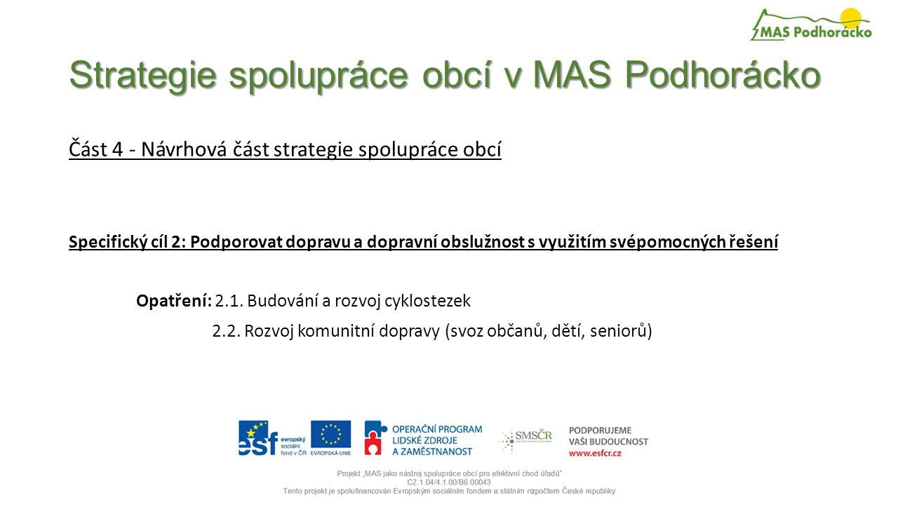Strategie spolupráce obcí v MAS Podhorácko Část 4 - Návrhová část strategie spolupráce obcí Specifický cíl 2: Podporovat dopravu a dopravní obslužnost s využitím svépomocných řešení Opatření: 2.1.