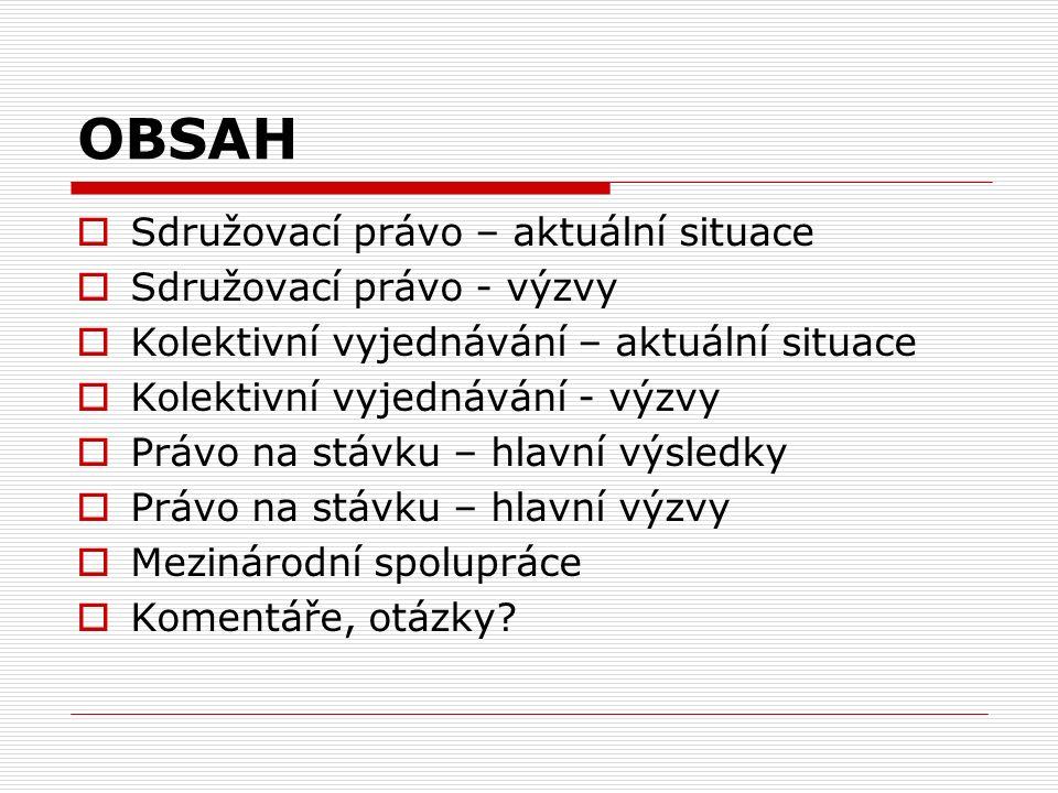 Sdružovací právo aktuální situace (I.)  Českomoravská konfederace odborových svazů (ČMKOS) – největší národní konfederace (32 členů, cca 550.000 členů)  Odborový svaz dopravy (OSD) – pracující v silniční dopravě, civilním letectví a vodní dopravě (> 140 ZO, cca 16.000 členů)  alternativní konfederace (ASO) nezávislé odborové svazy (DOSIA atd.)