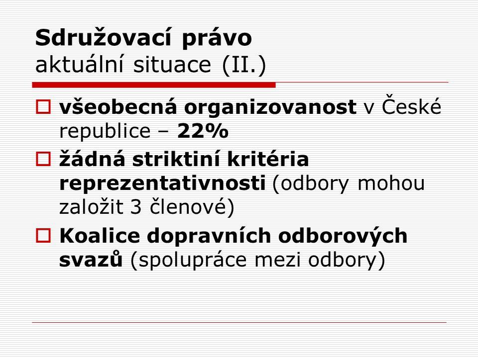 Sdružovací právo aktuální situace (II.)  všeobecná organizovanost v České republice – 22%  žádná striktiní kritéria reprezentativnosti (odbory mohou založit 3 členové)  Koalice dopravních odborových svazů (spolupráce mezi odbory)
