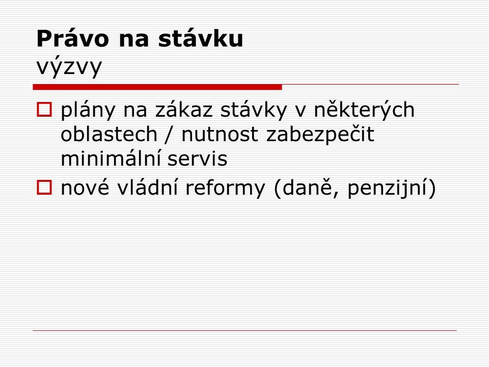 Právo na stávku výzvy  plány na zákaz stávky v některých oblastech / nutnost zabezpečit minimální servis  nové vládní reformy (daně, penzijní)