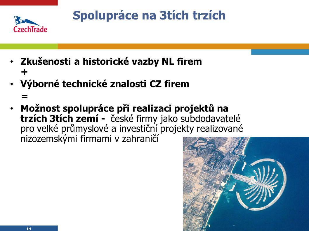 14 Spolupráce na 3tích trzích Zkušenosti a historické vazby NL firem + Výborné technické znalosti CZ firem = Možnost spolupráce při realizaci projektů na trzích 3tích zemí - české firmy jako subdodavatelé pro velké průmyslové a investiční projekty realizované nizozemskými firmami v zahraničí