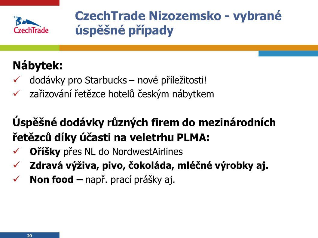 20 CzechTrade Nizozemsko - vybrané úspěšné případy Nábytek: dodávky pro Starbucks – nové příležitosti.
