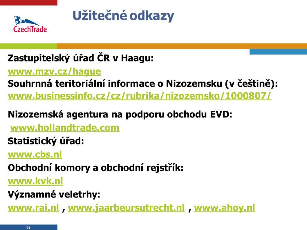 21 Užitečné odkazy Zastupitelský úřad ČR v Haagu: www.mzv.cz/hague Souhrnná teritoriální informace o Nizozemsku (v češtině): www.businessinfo.cz/cz/ru