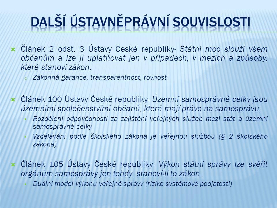  Článek 2 odst. 3 Ústavy České republiky- Státní moc slouží všem občanům a lze ji uplatňovat jen v případech, v mezích a způsoby, které stanoví zákon