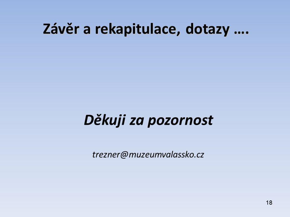 18 Závěr a rekapitulace, dotazy …. Děkuji za pozornost trezner@muzeumvalassko.cz