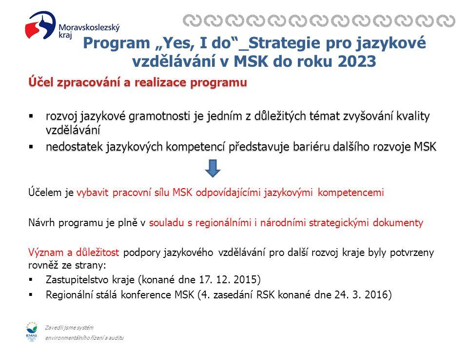 """Zavedli jsme systém environmentálního řízení a auditu Program """"Yes, I do _Strategie pro jazykové vzdělávání v MSK do roku 2023 Účel zpracování a realizace programu  rozvoj jazykové gramotnosti je jedním z důležitých témat zvyšování kvality vzdělávání  nedostatek jazykových kompetencí představuje bariéru dalšího rozvoje MSK Účelem je vybavit pracovní sílu MSK odpovídajícími jazykovými kompetencemi Návrh programu je plně v souladu s regionálními i národními strategickými dokumenty Význam a důležitost podpory jazykového vzdělávání pro další rozvoj kraje byly potvrzeny rovněž ze strany:  Zastupitelstvo kraje (konané dne 17."""