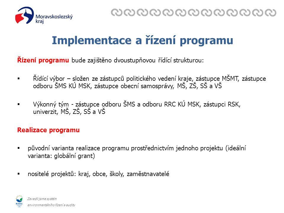 Zavedli jsme systém environmentálního řízení a auditu Implementace a řízení programu Řízení programu bude zajištěno dvoustupňovou řídící strukturou: 