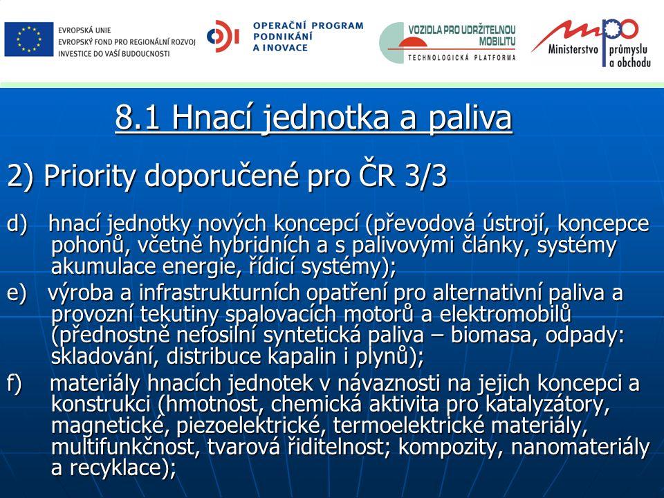 2) Priority doporučené pro ČR 3/3 d) hnací jednotky nových koncepcí (převodová ústrojí, koncepce pohonů, včetně hybridních a s palivovými články, syst