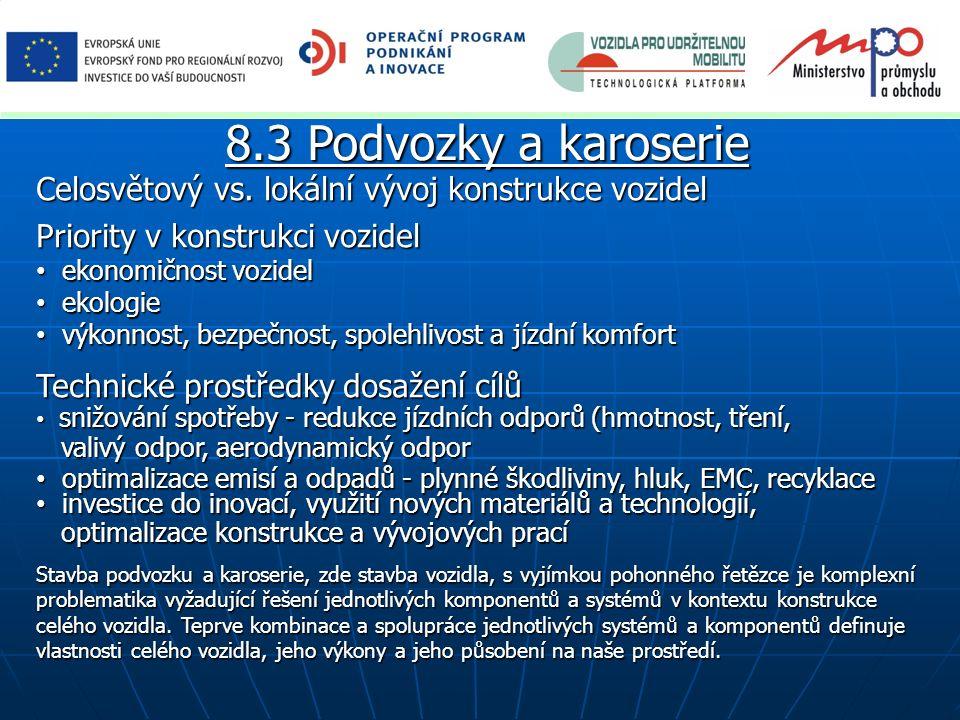 8.3 Podvozky a karoserie Celosvětový vs. lokální vývoj konstrukce vozidel Priority v konstrukci vozidel ekonomičnost vozidel ekonomičnost vozidel ekol