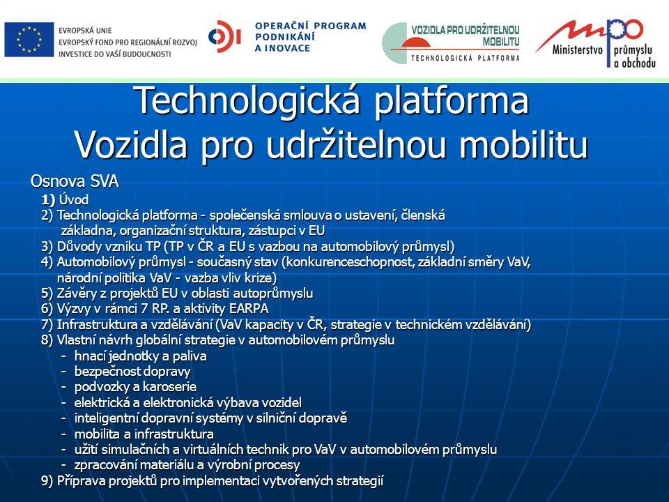 Technologická platforma Vozidla pro udržitelnou mobilitu Osnova SVA 1) Úvod 2) Technologická platforma - společenská smlouva o ustavení, členská zákla
