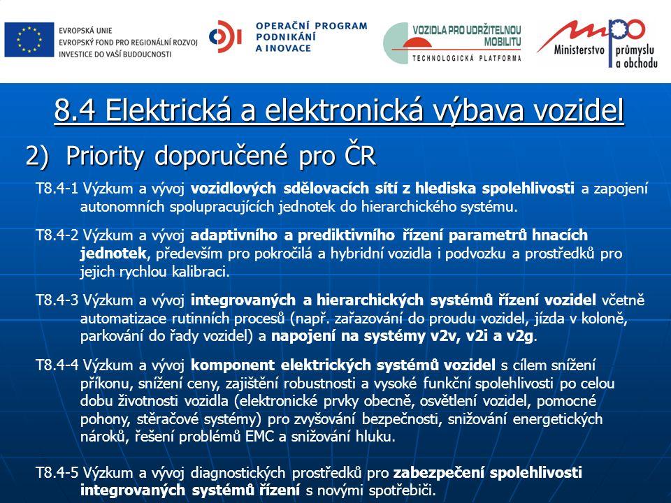 2) Priority doporučené pro ČR T8.4-1 Výzkum a vývoj vozidlových sdělovacích sítí z hlediska spolehlivosti a zapojení autonomních spolupracujících jedn