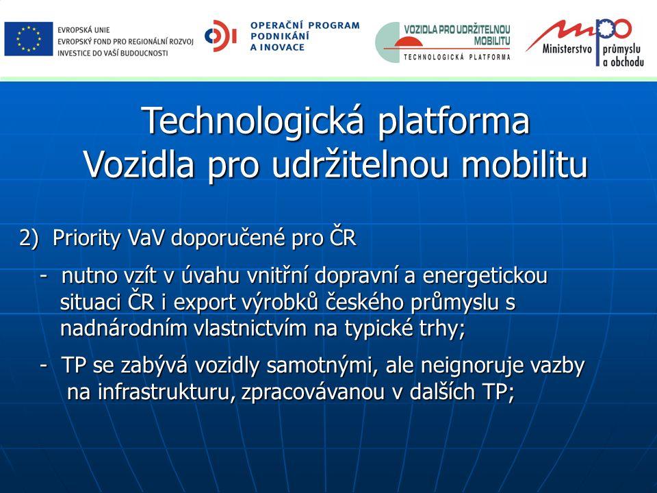 Technologická platforma Vozidla pro udržitelnou mobilitu 2) Priority VaV doporučené pro ČR 2) Priority VaV doporučené pro ČR - nutno vzít v úvahu vnit