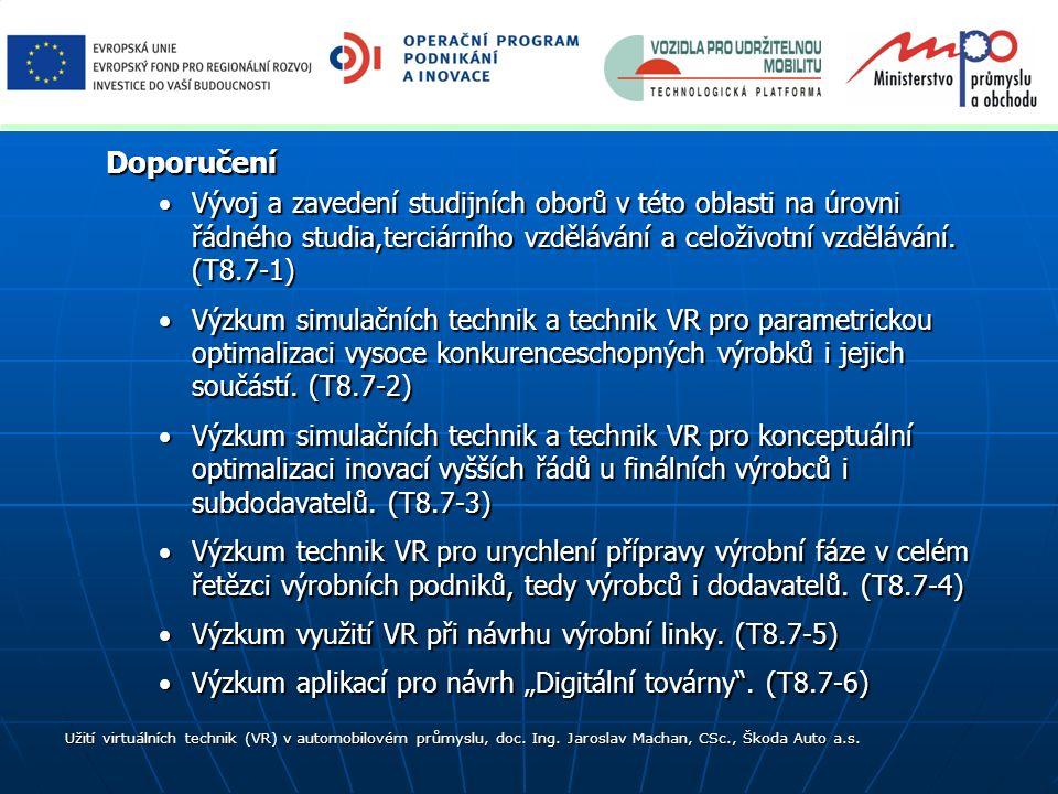 Doporučení Vývoj a zavedení studijních oborů v této oblasti na úrovni řádného studia,terciárního vzdělávání a celoživotní vzdělávání. (T8.7-1)Vývoj a