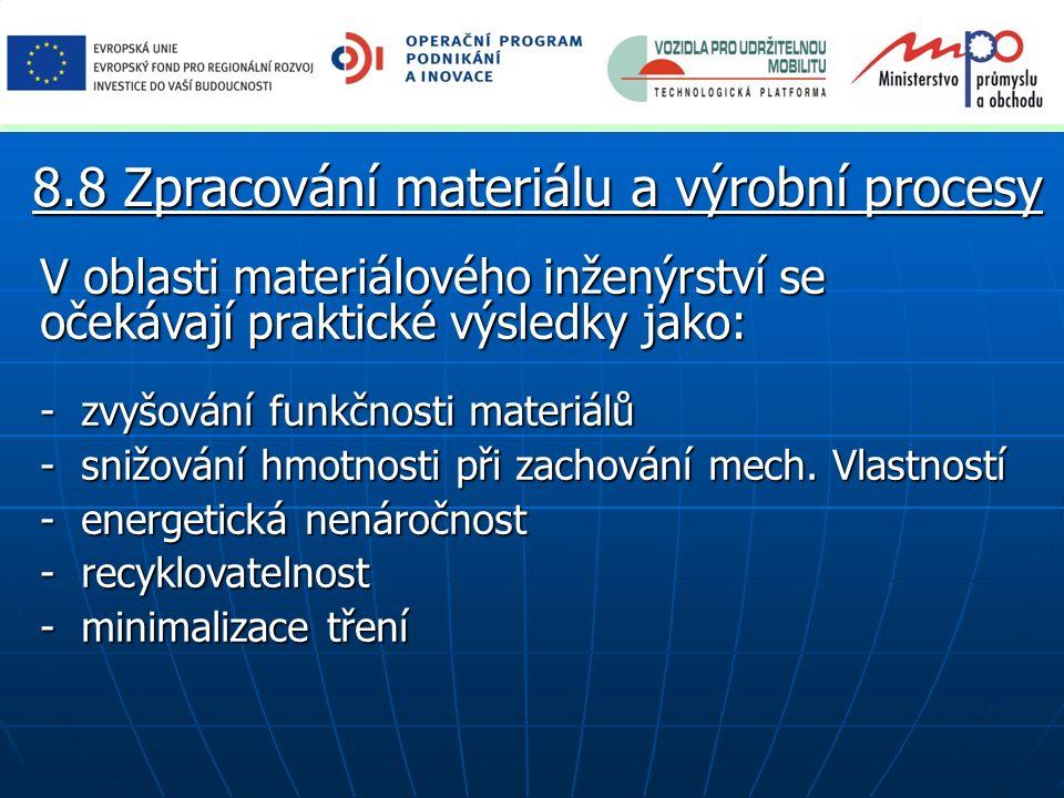 V oblasti materiálového inženýrství se očekávají praktické výsledky jako: - zvyšování funkčnosti materiálů - snižování hmotnosti při zachování mech. V