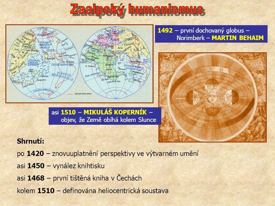 1492 – první dochovaný globus – Norimberk – MARTIN BEHAIM asi 1510 – MIKULÁŠ KOPERNÍK – objev, že Země obíhá kolem Slunce Shrnutí: po 1420 – znovuuplatnění perspektivy ve výtvarném umění asi 1450 – vynález knihtisku asi 1468 – první tištěná kniha v Čechách kolem 1510 – definována heliocentrická soustava