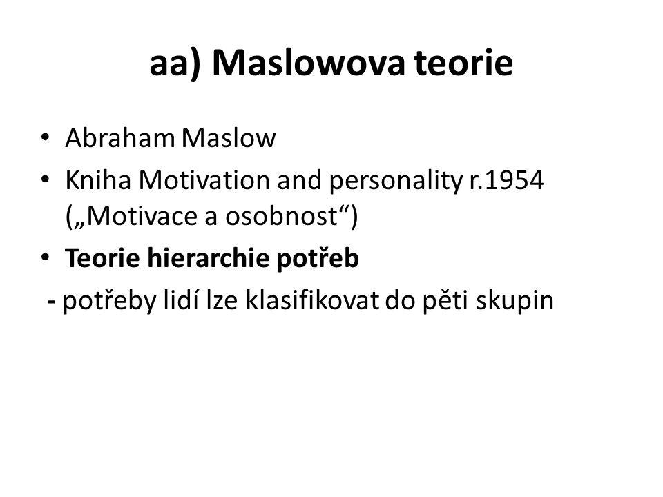 """aa) Maslowova teorie Abraham Maslow Kniha Motivation and personality r.1954 (""""Motivace a osobnost ) Teorie hierarchie potřeb - potřeby lidí lze klasifikovat do pěti skupin"""