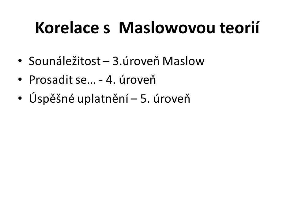 Korelace s Maslowovou teorií Sounáležitost – 3.úroveň Maslow Prosadit se… - 4.