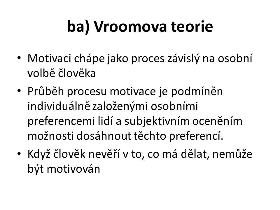ba) Vroomova teorie Motivaci chápe jako proces závislý na osobní volbě člověka Průběh procesu motivace je podmíněn individuálně založenými osobními preferencemi lidí a subjektivním oceněním možnosti dosáhnout těchto preferencí.