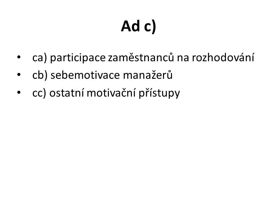 Ad c) ca) participace zaměstnanců na rozhodování cb) sebemotivace manažerů cc) ostatní motivační přístupy