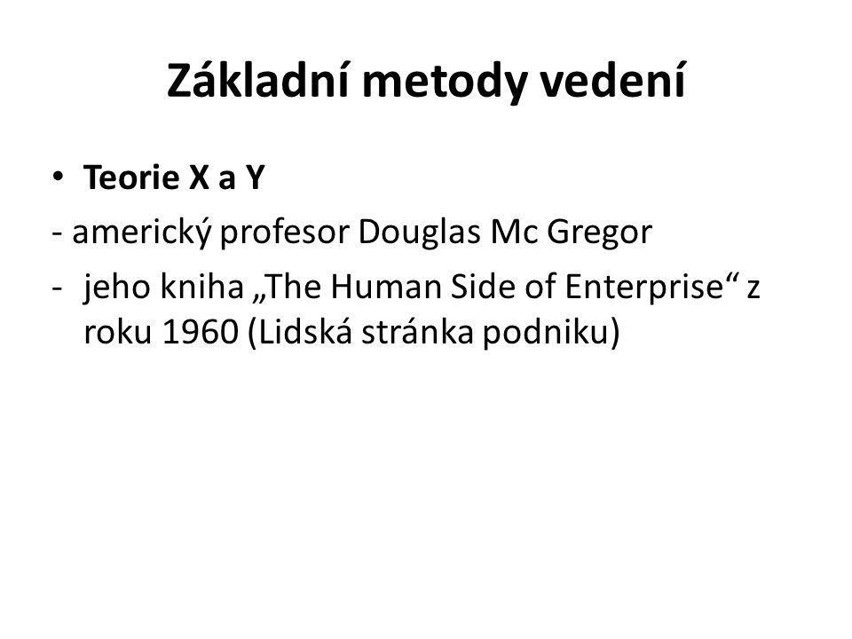 """Základní metody vedení Teorie X a Y - americký profesor Douglas Mc Gregor -jeho kniha """"The Human Side of Enterprise z roku 1960 (Lidská stránka podniku)"""