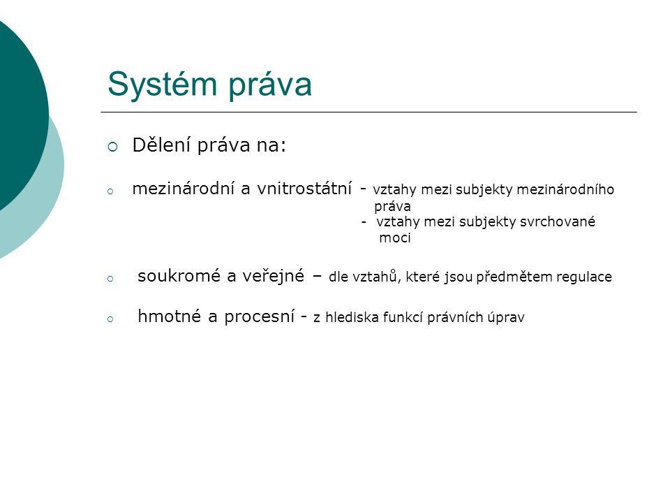Systém práva  Dělení práva na: o mezinárodní a vnitrostátní - vztahy mezi subjekty mezinárodního práva - vztahy mezi subjekty svrchované moci o soukromé a veřejné – dle vztahů, které jsou předmětem regulace o hmotné a procesní - z hlediska funkcí právních úprav