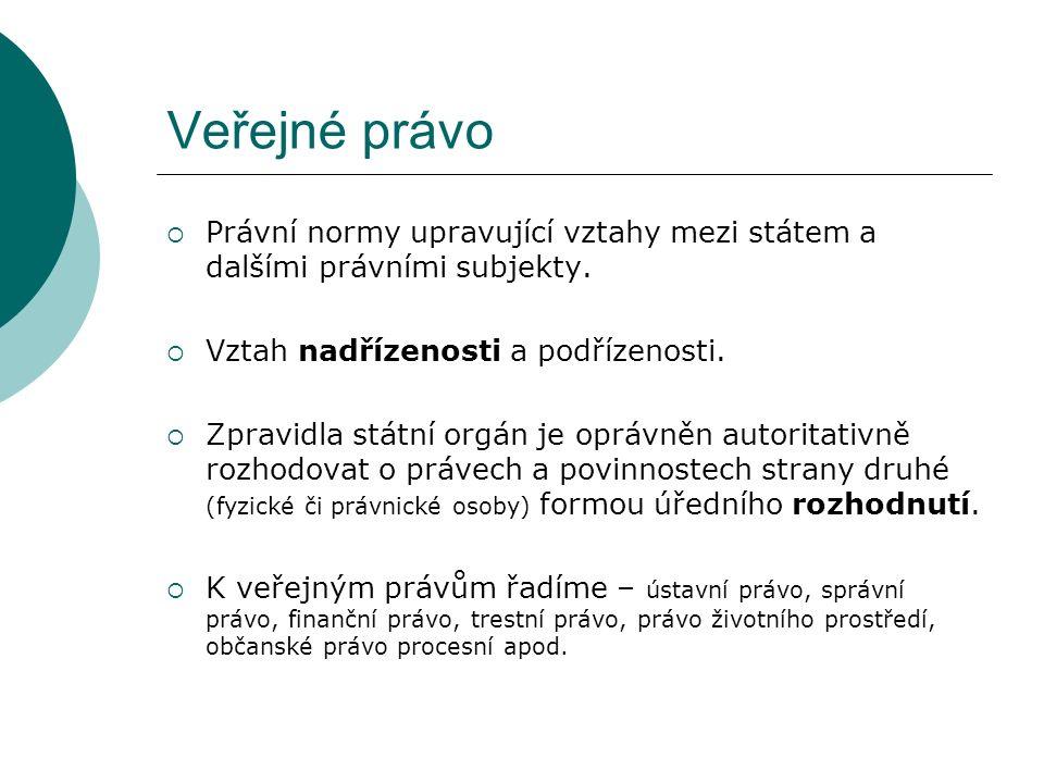 Veřejné právo  Právní normy upravující vztahy mezi státem a dalšími právními subjekty.