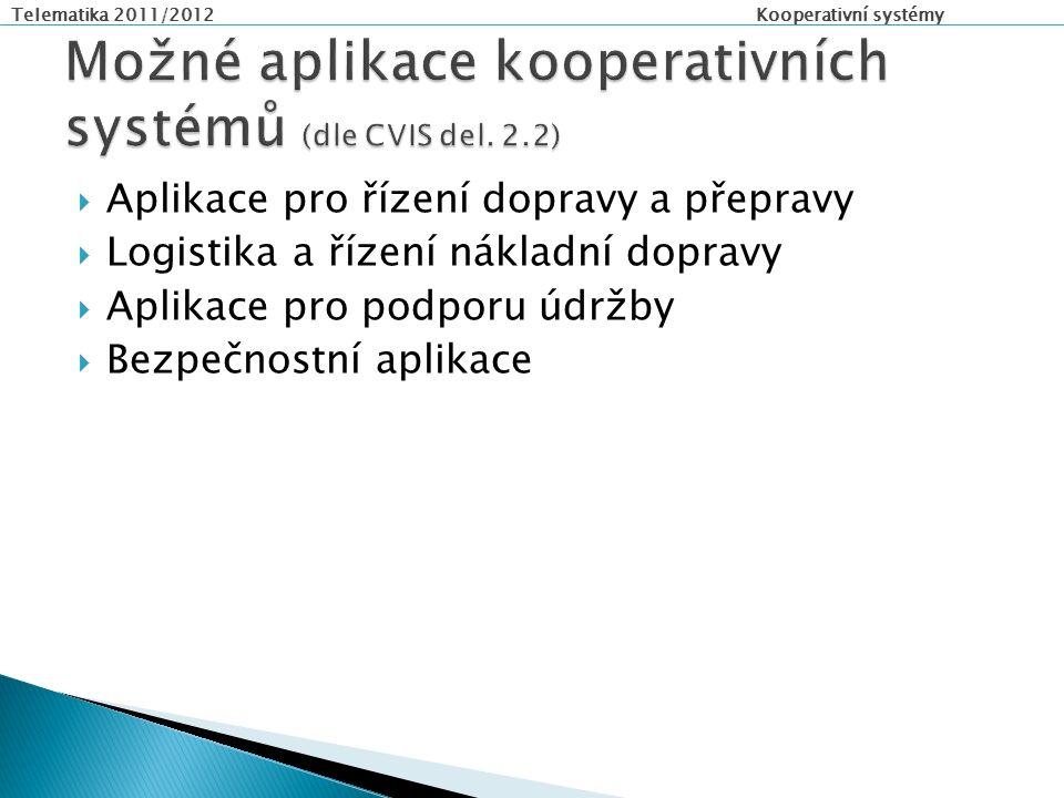 Telematika 2011/2012 Kooperativní systémy  Aplikace pro řízení dopravy a přepravy  Logistika a řízení nákladní dopravy  Aplikace pro podporu údržby  Bezpečnostní aplikace