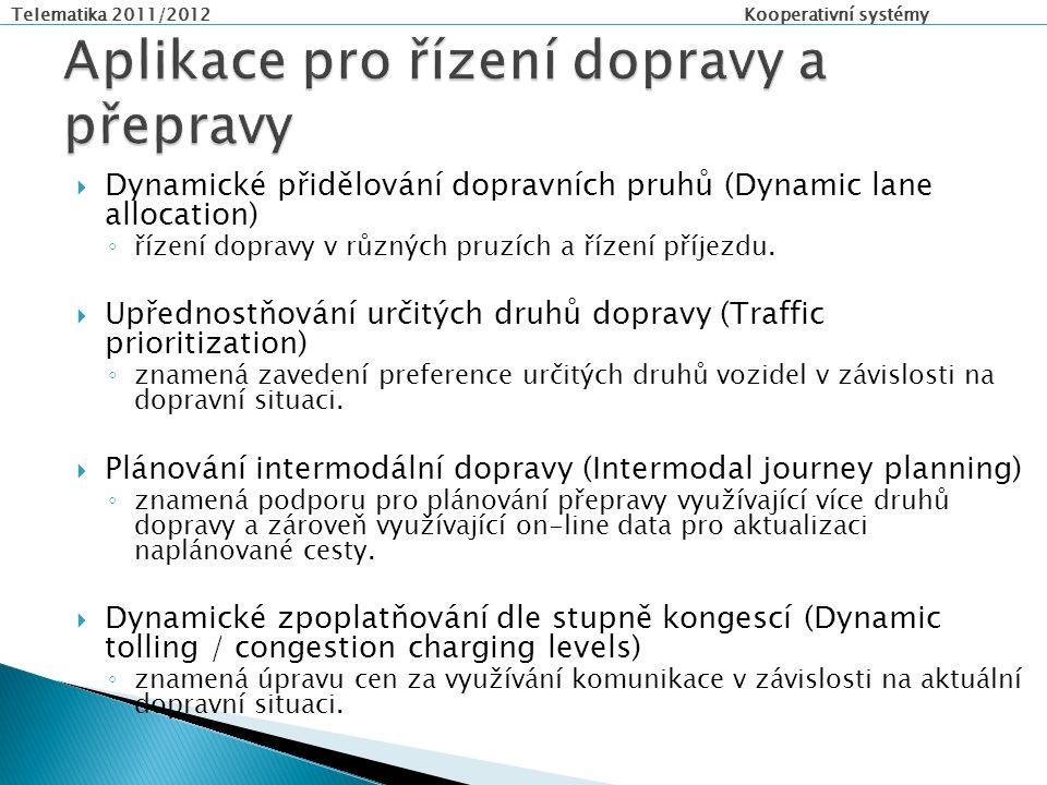 Telematika 2011/2012 Kooperativní systémy  Dynamické přidělování dopravních pruhů (Dynamic lane allocation) ◦ řízení dopravy v různých pruzích a řízení příjezdu.