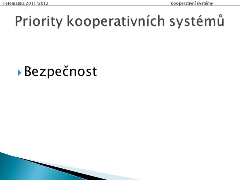 Telematika 2011/2012 Kooperativní systémy  Bezpečnost