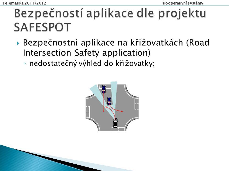 Telematika 2011/2012 Kooperativní systémy  Bezpečnostní aplikace na křižovatkách (Road Intersection Safety application) ◦ nedostatečný výhled do křižovatky;