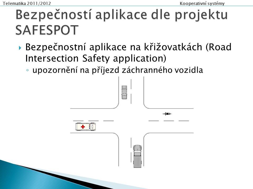 Telematika 2011/2012 Kooperativní systémy  Bezpečnostní aplikace na křižovatkách (Road Intersection Safety application) ◦ upozornění na příjezd záchranného vozidla