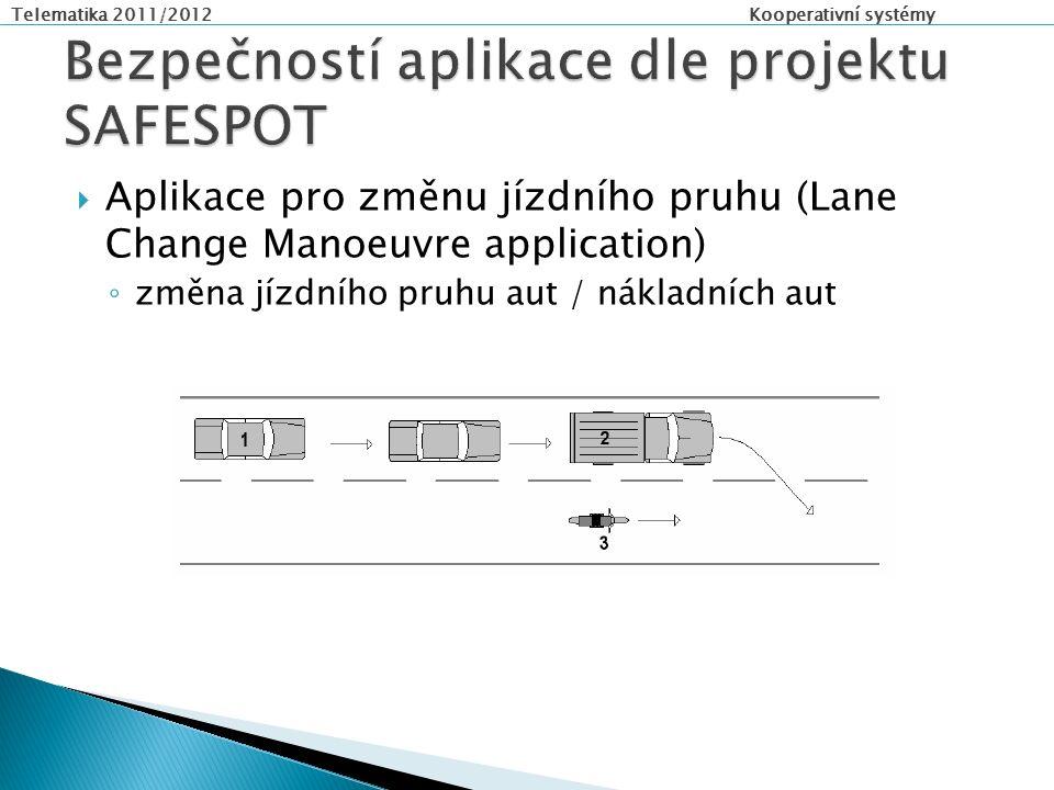 Telematika 2011/2012 Kooperativní systémy  Aplikace pro změnu jízdního pruhu (Lane Change Manoeuvre application) ◦ změna jízdního pruhu aut / nákladních aut