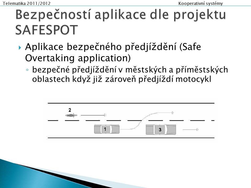 Telematika 2011/2012 Kooperativní systémy  Aplikace bezpečného předjíždění (Safe Overtaking application) ◦ bezpečné předjíždění v městských a příměstských oblastech když již zároveň předjíždí motocykl