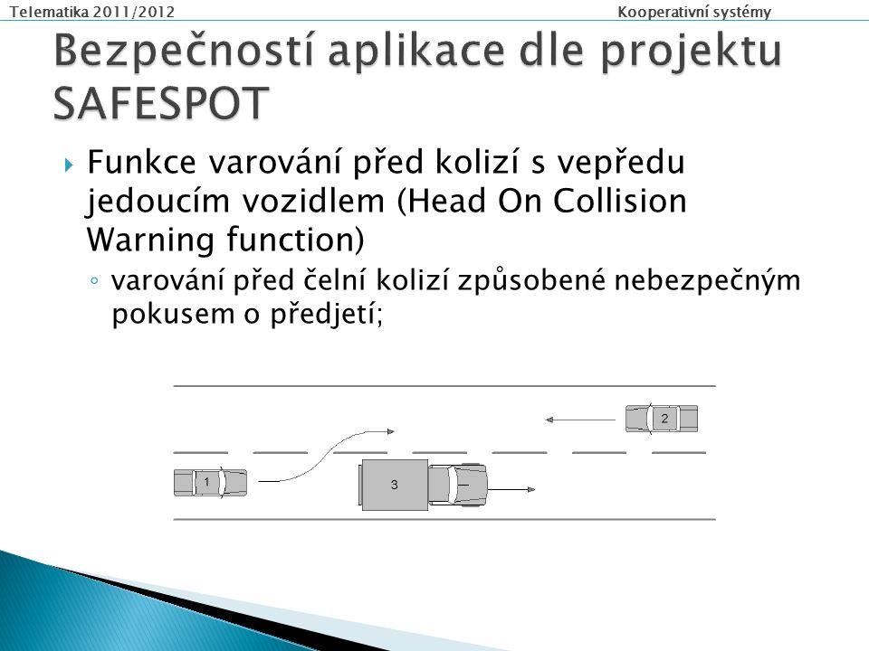Telematika 2011/2012 Kooperativní systémy  Funkce varování před kolizí s vepředu jedoucím vozidlem (Head On Collision Warning function) ◦ varování před čelní kolizí způsobené nebezpečným pokusem o předjetí;