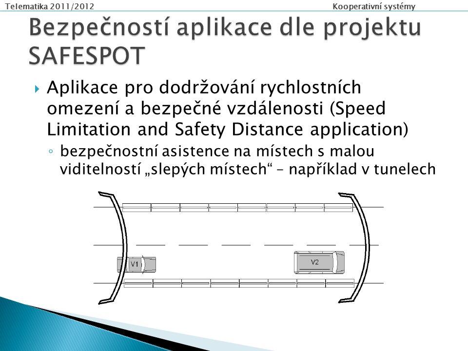 """Telematika 2011/2012 Kooperativní systémy  Aplikace pro dodržování rychlostních omezení a bezpečné vzdálenosti (Speed Limitation and Safety Distance application) ◦ bezpečnostní asistence na místech s malou viditelností """"slepých místech – například v tunelech"""