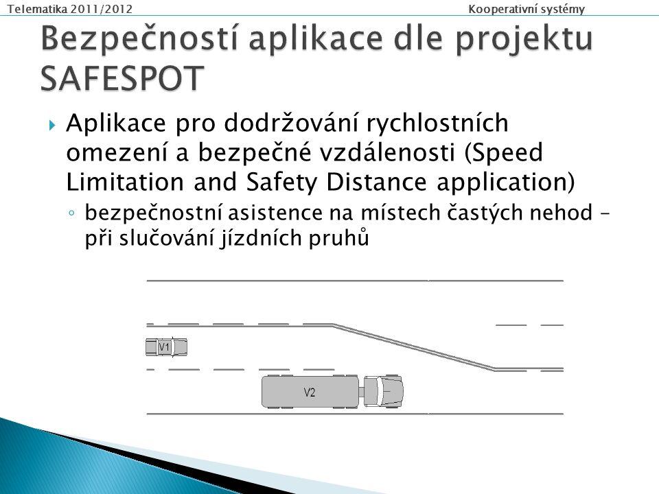Telematika 2011/2012 Kooperativní systémy  Aplikace pro dodržování rychlostních omezení a bezpečné vzdálenosti (Speed Limitation and Safety Distance application) ◦ bezpečnostní asistence na místech častých nehod – při slučování jízdních pruhů