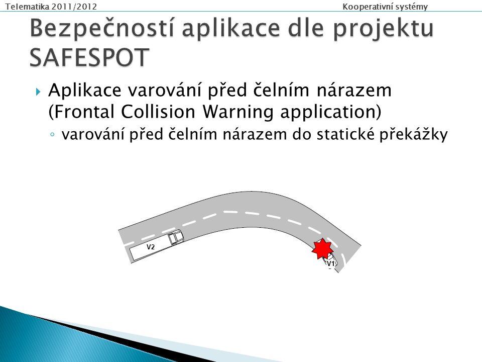 Telematika 2011/2012 Kooperativní systémy  Aplikace varování před čelním nárazem (Frontal Collision Warning application) ◦ varování před čelním nárazem do statické překážky