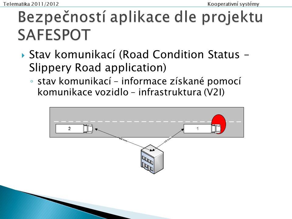 Telematika 2011/2012 Kooperativní systémy  Stav komunikací (Road Condition Status – Slippery Road application) ◦ stav komunikací – informace získané pomocí komunikace vozidlo – infrastruktura (V2I)