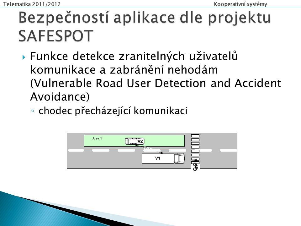 Telematika 2011/2012 Kooperativní systémy  Funkce detekce zranitelných uživatelů komunikace a zabránění nehodám (Vulnerable Road User Detection and Accident Avoidance) ◦ chodec přecházející komunikaci
