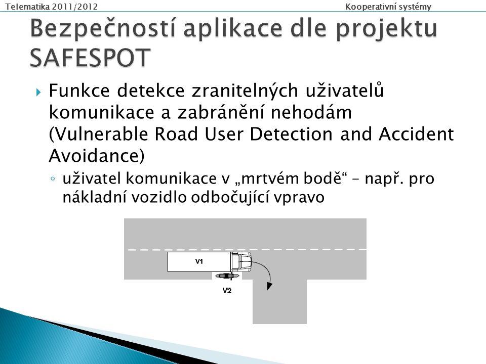 """Telematika 2011/2012 Kooperativní systémy  Funkce detekce zranitelných uživatelů komunikace a zabránění nehodám (Vulnerable Road User Detection and Accident Avoidance) ◦ uživatel komunikace v """"mrtvém bodě – např."""